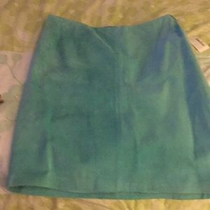Turquoise suede mini skirt